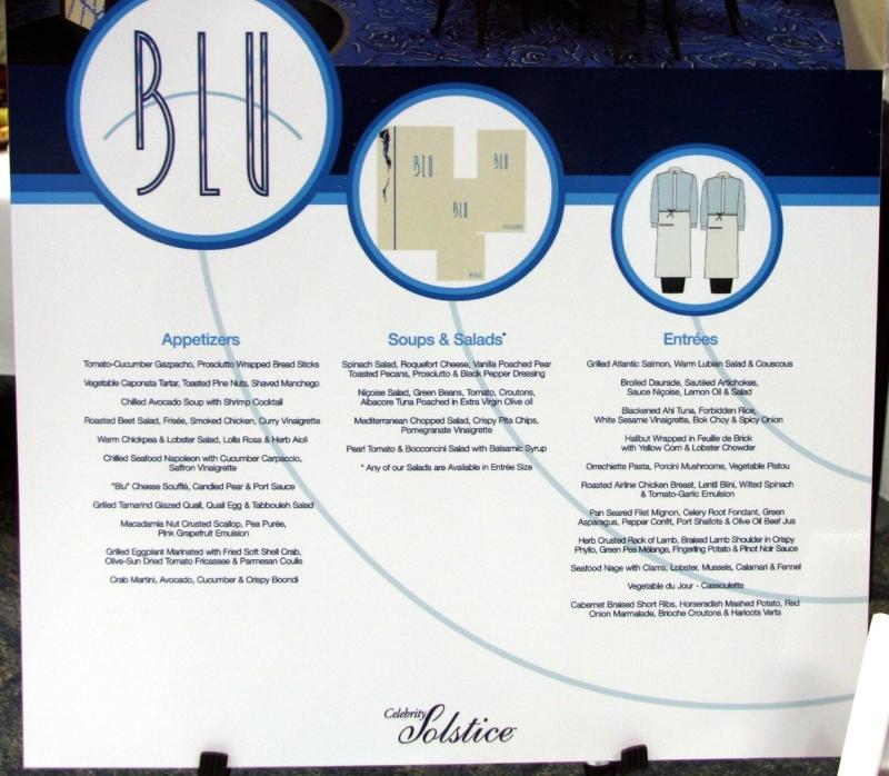 Celebrity Equinox AQUA CLASS- BLU Restaurant - Celebrity ...