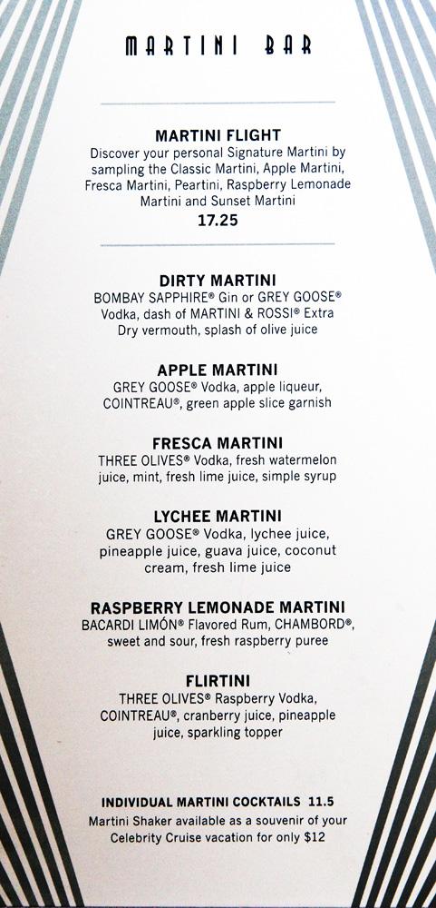 Martini Room Menu
