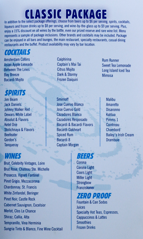 Celebrity Cruises Drinks Prices, Packages, Wine, Alcohol ...