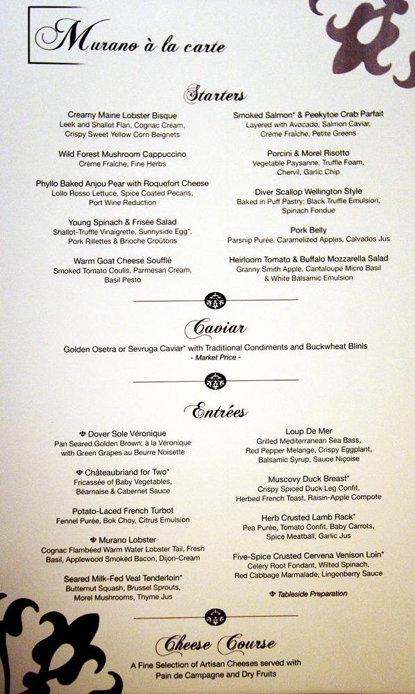 Celebrity Silhouette Menu - Gambee's Cruise Reviews, Menus ...