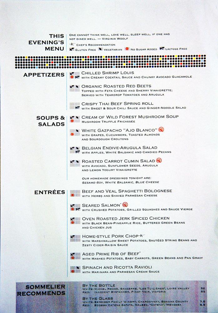 Celebrity reflection opus menu oasis