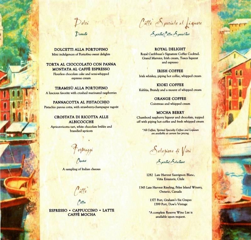 Portovino Restaurant Menu